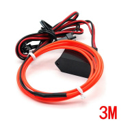 Water & Wood 2Pcs 3M/9.84 Feet Neon El Wire with Driven Switch for Decoration of Vehicle, House, Outdoor, Commerical Purposes-Orange Light