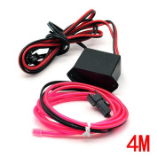 Water & Wood 2Pcs 4M/13Feet Neon El Wire with Driven Switch for Decoration of Vehicle, House, Outdoor, Commerical Purposes-Pink Light