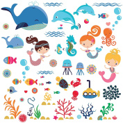 Mermaids Decorative Peel & Stick Wall Art Sticker Decals for Kids Room or Nursery