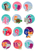 Monthly Sticker Animals - Baby Girl Boy - Wall Decal Nursery For Home Bedroom Children
