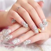 Be Nice 24Pcs Women Lady DIY White Fake False Fingernail Full Pearl Rhinestone Tips Tool for Wedding Party Decoration