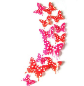 Yunko 48 Pcs Pink Dot Butterfly 3d PVC DIY Wall Decals Sticker Home Window Decoration