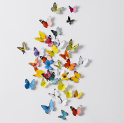 Yunko 118 Pcs Colourful butterfly 3d PVC Wall Decals Sticker, Home Window Decoration