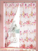 Pink Owl Kid's Curtain Set