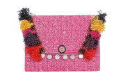 Pink Batik Clutch Envelope Handbag with Handmade Cotton Pom Poms