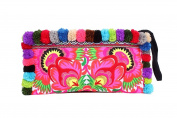 Embroidered Flower Wristlet Clutch / Pencil Bag with Handmade Pom Poms