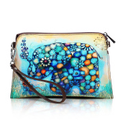 APHISON Designer Women's Leather Zipper Wallets Cowhide Painting Card Clutch Holder Purse