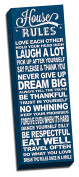 House Rules Blue Quote 30cm x 90cm Wall Decoration Typography Art Image Printed on Canvas Stretched & Framed Ready to Hang
