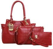 King Ma Lady Fashionable Crocodile grain Shoulder Handbag 3 Piece Set