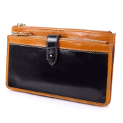 AINIMOER Women's Large Leather Clutch Wallet Long Card Case Zippered Ladies Purse Money Clip