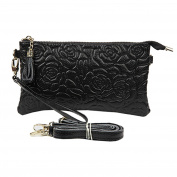 Sanxiner Women Rose Leather Wristlet Long Wallet Clutch Organiser Crossbody Bag