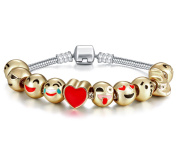 Y & M Emoji Charms Bracelet with Gift Box - 18K Gold Plated with 10 Pieces of Emoji Beads Enamel Smiley Faces