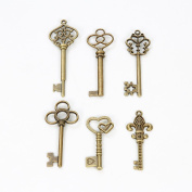 Bingcute 6 Type Of 30Pcs Bronze Vintage Skeleton Keys -Vintage Style Key Charms