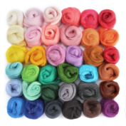 OPount Set of 36 Colours Wool Roving Wool Fibre Yarn Roving DIY Craft Materials