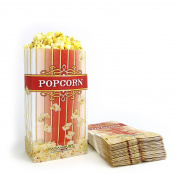 100 Popcorn Bags - 'Small' Standalone Flat Bottom Paper Bag Style