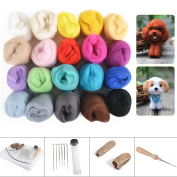 Reelva Needle Crafts Wool Felts 20 Mix Colour + Finger Guards + Needle Felting Mat Starter Kit Gifts