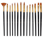 Yohino Professional Multi Purpose Paint Brush Set with Fan Brush (14 Piece Set), Nylon Hair with Chinese Birch Wood Handles, Use for Acrylic, Oil, Watercolour