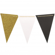 Ling's moment 3m Vintage Style Pennant Banner, Paper Triangle Flags Bunting for Wedding, Baby Shower and Halloween Decorations, 15pcs Flags