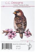 C.C. Designs Bird on Branch Dove Art Cling Stamp, 7.6cm by 7.6cm