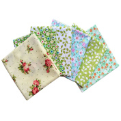 iNee 6 Fat Quarters Quilting Fabric Sewing DIY Craft Bundle,46cm x 22 Inch - Green Floral