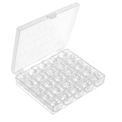 25 Pcs Transparent Plastic Sewing Machine Bobbins with Case for Brother Singer Babylock Janome Kenmore