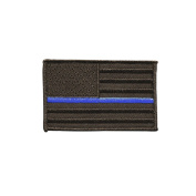 Thin Blue Line American Flag Patch by Morale Patch Armoury - Subdued Embroidered Tactical Decal | Milspec | Reinforced Hook Backing | for Tactical Hats, Bags and Gear | 5.1cm x 7.6cm Blackout Edition