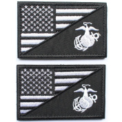 Bundle 2 pieces - Black American USA Flag Marine Corps Usmc Black Ops patch with Hook and loop backing Decorative Embroidered Badge appliques 5.1cm high by 7.6cm wide