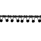 Ball Fringe 2.5cm - 0.3cm Wide, 9 Yards, Black
