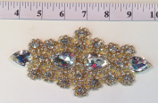 RHS-APL-478-GOLD. HOT FIX / IRON ON / SEW ON CRYSTAL RHINESTONE APPLIQUE - 18cm x 7.6cm