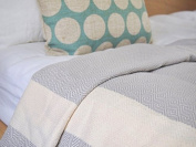 Eshma Mardini Turkish Cotton Quilt Bed Spread Blanket Bed Cover for All Season 250cm x 200cm - Grey