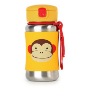 Skip Hop Zoo Little Kid & Toddler Feeding Insulated Stainless Steel Straw Bottle, 350ml, Multi, Marshall Monkey