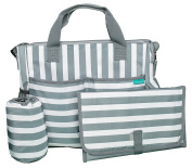 Nappy Bag by Bambini & ME — Stripes, Functional Baby Stroller Organiser — Adjustable Stroller Strap — Eight Total Pockets — Easy to Clean — BONUS