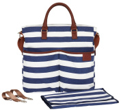 Nappy Bag by Hip Cub - Plus Matching Baby Changing Pad - Navy and White Stripe Designer Cotton Canvas W/ Cute Tan Trim
