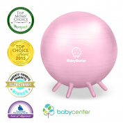 Baby Bump Birth Ball w Base Legs - Yoga - Anti-burst - Pump - Pregnancy Exercise - Prenatal Fitness - Induces Labour - Soothes Babies - Yoga Moms - 65 cm - Pink
