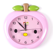 Wall Clocks For Kids (Pink Apple) - Fun Colourful Design For Boy Or Girls Room. Silent Non-Ticking Hand. Best For Bedroom, Nursery, Playroom & Classroom Decor. Great For Teaching A Child To Read Time