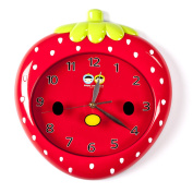 Wall Clocks For Kids (Red Strawberry) - Fun Colourful Design For Boy & Girls Room. Silent Non-Ticking Hand. Best For Bedroom Nursery Playroom & Classroom Decor. Great For Teaching A Child To Read Time