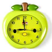 Wall Clocks For Kids (Green Apple) - Fun Colourful Design For Boy Or Girls Room. Silent Non-Ticking Hand. Best For Bedroom, Nursery, Playroom & Classroom Decor. Great For Teaching A Child To Read Time