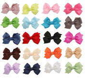 DUOQU 20 Colours 20 Pcs Baby Girl Grosgrain Ribbon Boutique Hair Bows Alligator Clips Fashion Hair Accessories For Teens Baby Girls Babies Toddlers