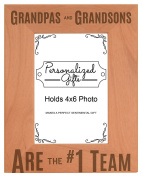 Father's Day Gifts for Grandpa are #1 Team Natural Wood Engraved 4x6 Portrait Picture Frame Wood