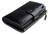 Obosoyo Women's Large Capacity Luxury Wax Genuine Leather Wallet With Zipper Pocket