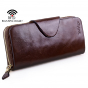 BIG SALE-60% OFF-Yafeige Large Luxury Women's RFID Blocking Tri-fold Leather Wallet Zipper Ladies Clutch Purse