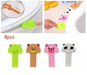 BeautyMood 8pcs Toilet Seat Pad Cover Lifter -lovely portable cartoon animal toilet Seat lifter handle Hygiene clean lifter Raise lower Lid the Clean Way - Avoid Touching-Cleaner & Healthier