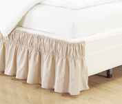 Wrap Around Style IVORY / TAN Ruffled Solid Bed Skirt Fits both QUEEN and KING size bedding 100% soft microfiber fabric allows for Natural Draping, 36cm Fall Covers Legs and Bed Frame