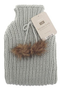 Chunky Knit Hot Water Bottle - 2 litre (2L) - Premium Soft Knitted Pom Pom Cover - Light Grey