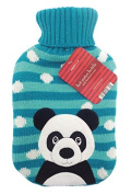 Christmas Hot Water Bottle - 2 litre (2L) - Soft Knitted Xmas Warm Cover - Panda