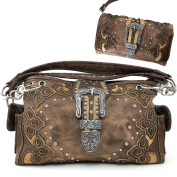 Justin West Rhinestone Floral Embroidery Weaved Leather Buckle Wristlet Trifold Wallet Attachable Long Strap