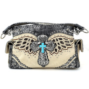 Justin West Cross Angel Wings Concealed Carry Handbag Purse