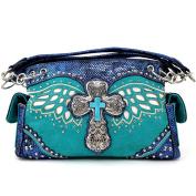 Justin West Cross Angel Wings Concealed Carry Handbag Purse