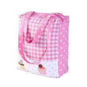 Homescapes Pink White Cotton Large Designer Tote Bag with Zipper & Internal Pockets . Pink Gingham & Cup Cakes Design Shopping or Shoulder Bag 36 x 43 x 11 cm