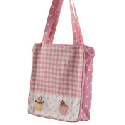 Homescapes Pink White Cotton Large Designer Tote Bag with Zipper & Internal Pockets . Pink Gingham & Cup Cakes Design Shopping or Shoulder Bag 27 x 32 x 11 cm
